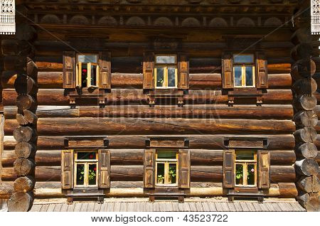 The wall of wooden house