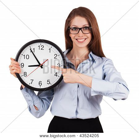 Woman With A Gray Shirt With Office Hours