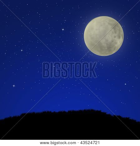 Night sky with full moon and field of grass, background