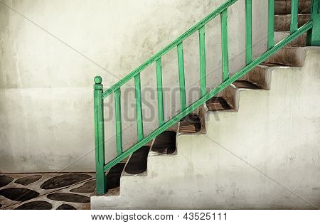 Dirty Stairs With Handrails