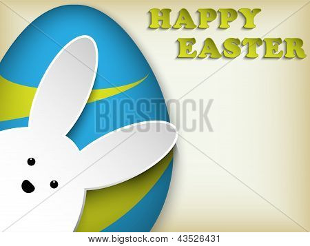 Happy Easter Rabbit Bunny Easter Egg Retro