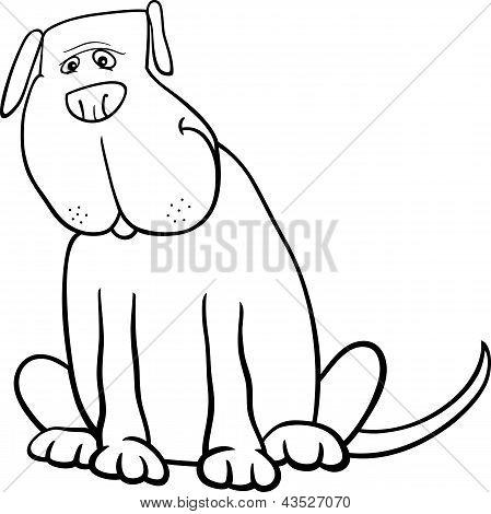 Funny Big Dog Cartoon For Coloring Book