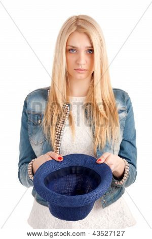 Young woman with hat begging for money