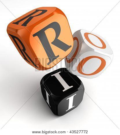 Roi Orange Black Dice Blocks