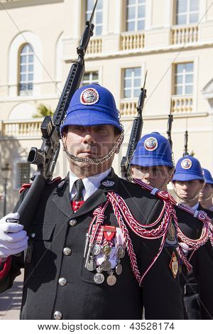 The Military Force Performing The Change Of Guard in Monaco
