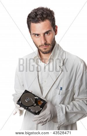 Technician Holding Hard Disk