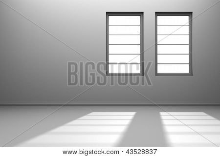 White room with two windows and sunlight streaming in