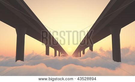 Road to Heaven Highway Above Clouds