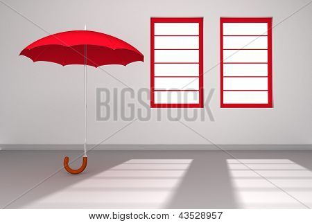 Red Umbrella in a white Room with Windows