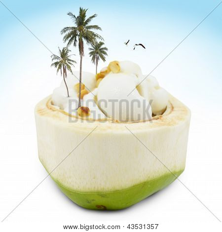 Ice-cream In Coconut