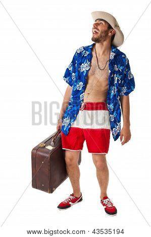 Cheering Tourist