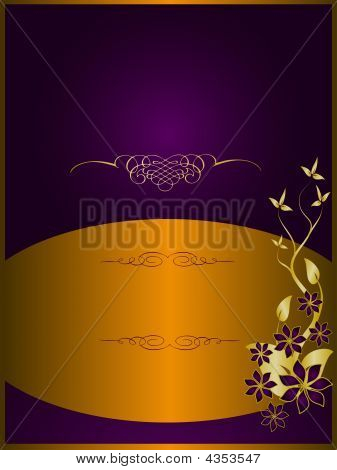 Purple And Bronze Floral Background