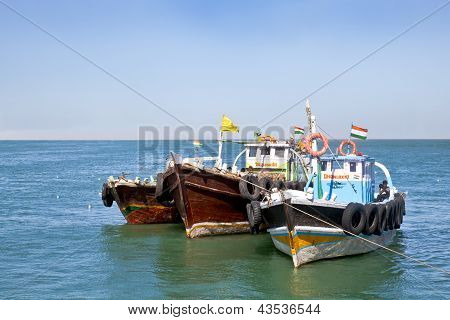 Ferry Boats Off Bet Dwarka Gujarat India