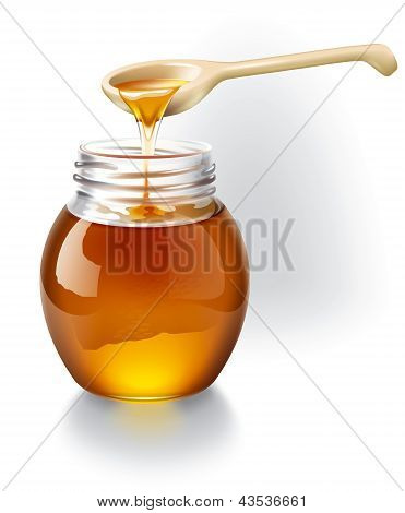 Honey with wooden spoon