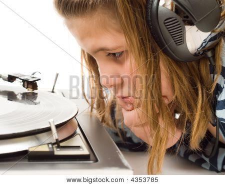 Child Watching Record Player