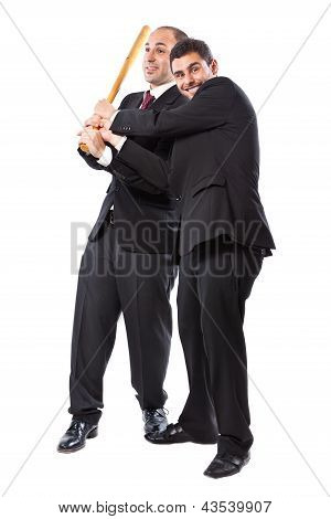 Two Businessman And A Baseball Bat