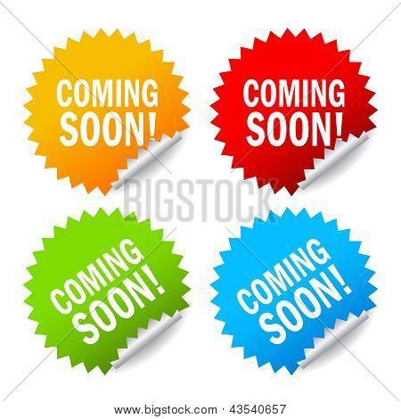 Vector coming soon labels set