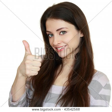 Smiling Woman Showing Thumb Up. Ok Sign. Closeup Portrait Isolated