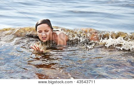 Woman Bathing In The Sea Wave