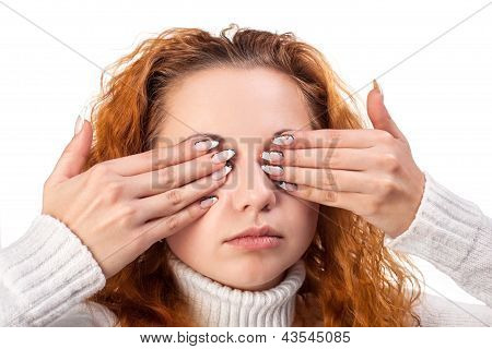 Woman Covering Her Eyes By The Hands,