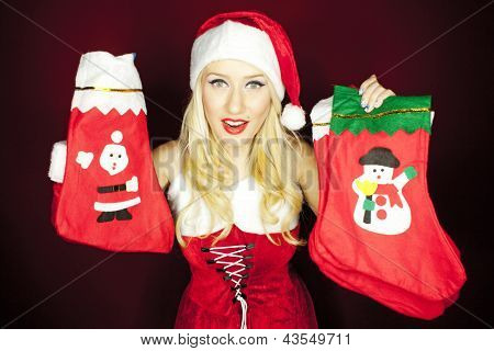 Beautiful Christmas Girl With Christmas Stockings