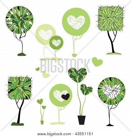 Abstract trees set.  Vector Illustration isolated.