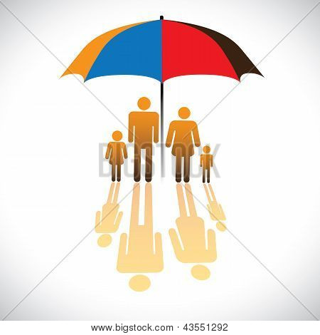 Graphic Of Secure Family People Icons & Umbrella Safeguard. The Concept Illustration Contains Symbol