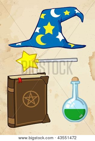 Wizard Stuff With Old Paper Background