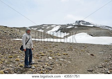 Hiker On The Way To The Peak Veleta In The Sierra Nevada