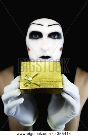 Portrait Of The Mime With A Gift