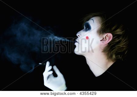 Portrait Of The Smoking Mime With A Smoke