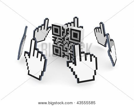 Cursors around QR code.