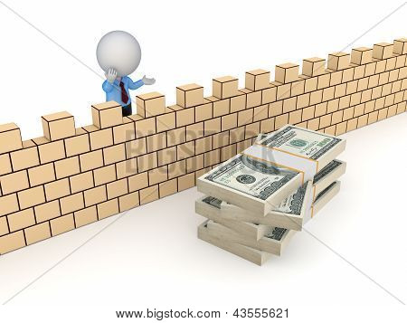 3d person behind the wall and stack of dollars.