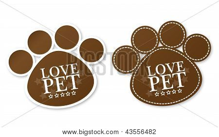 Paw print stickers with text love pet and stars