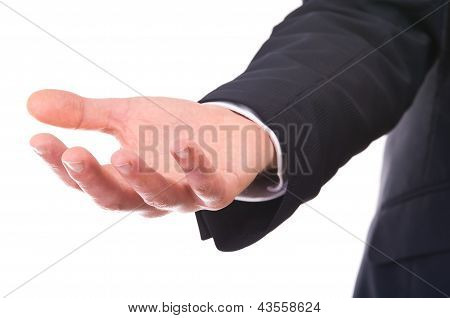 Empty businessman's hand.