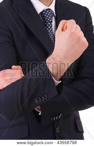 Business man making offensive hand gesture.