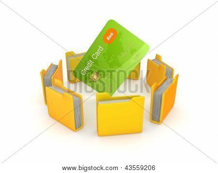 Yellow folders around credit card.