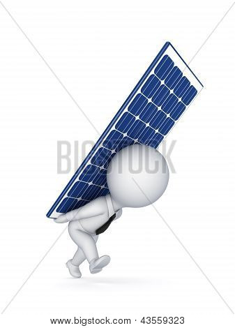 3d small person with a solar battery on a back.