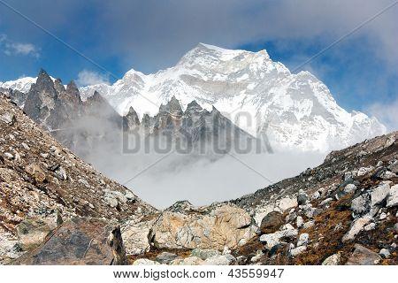 hungchhi peak and Chumbu peak above Ngozumba glacier from Cho Oyu base camp - trek to Everest base c
