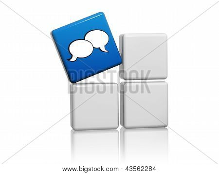 Speech Bubbles Sign In Blue Cube Over Grey Boxes