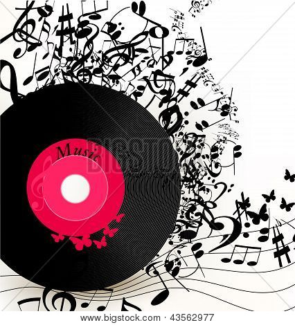 Abstract Music Background With Vinyl Record  And Notes
