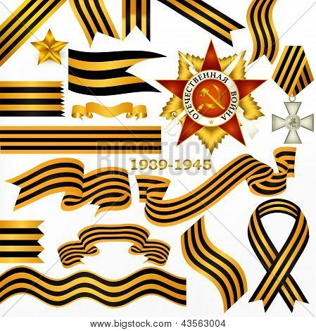 Collection Of Vector  St Georgian   Ribbons In Black And Orange Strips With Orders