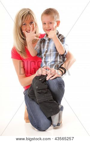 Mature Mother With Child 6 Years Boy Isolated
