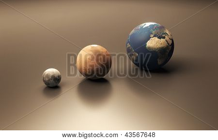 Planet Earth Mars And Moon Blank