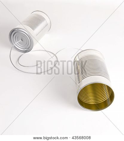 Two Cans Strung Together With Metal Wire Walkie Talkie