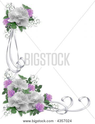 Wedding Border Roses White Lavender