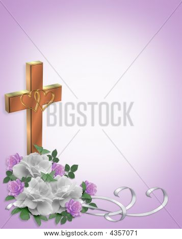 Christian Wedding Cross And Roses Invitation