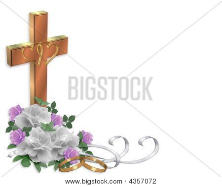 Christian Wedding Cross And Roses Invitation Stock photo