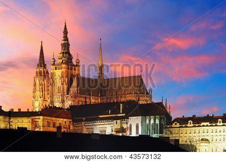 Prague Castle At Sunset - Czech Republic