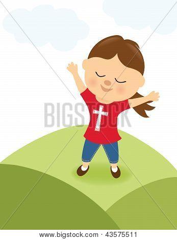 Girl praising the Lord